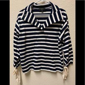 J Crew Stripe Snap Neck Sweatshirt, XS